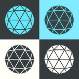 Vektor-Polyeder-Hexagon-Ball-flaches Design-gesetzte Illustration Lizenzfreie Stockfotografie