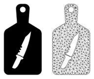 Vektor Polygonal Mesh Cutting Board och plan symbol royaltyfri illustrationer