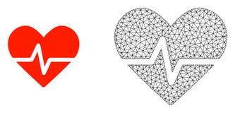 Vektor Polygonal Mesh Heart Pulse och plan symbol royaltyfri illustrationer