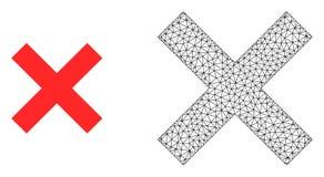Vektor Polygonal Mesh Reject Cross och plan symbol stock illustrationer