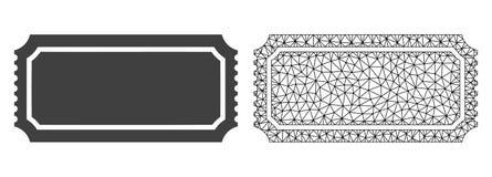 Vektor Polygonal Mesh Ticket Template och plan symbol vektor illustrationer