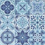 Vektor portugiesisches Azulejo deckt nahtlosen Muster-Hintergrund mit Ziegeln vektor abbildung