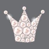 Vektor Prinzessin-Crown Pearl Background Lizenzfreies Stockbild