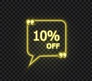 Vektor 10 procent av den gula etiketten, gult tecken för neon som isoleras på mörk bakgrund royaltyfri illustrationer
