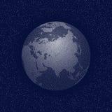 Vektor punkterat värld stiliserat jordklot askfat stock illustrationer