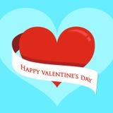 vektor Röd hjärta på valentindag Arkivbild