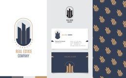 Vektor: Real Estate-Logo mit Handelsnamekarte und Unternehmensmuster im Luxusgeometrischen stil, einbrennendes Konzept Stockbild