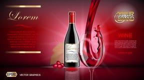 Vektor-realistischer Wein-Glas-und Flaschen-Spott oben Rote Rebtrauben Natürlicher vibrierender Hintergrund mit Platz für Ihr Bra Stockfotografie