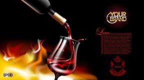 Vektor-realistisches strömendes Rotwein-Glas Logo annoncieren scheinbareshohes Vibrierender Hintergrund mit Platz für Ihr Brandin Lizenzfreie Stockfotos