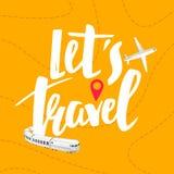 Vektor-Reise-Fahnen-Konzept Lassen Sie uns reisen Handgezogene Motivations-Berufung Reise-Illustration Flugzeug-und Zug-Reise vektor abbildung