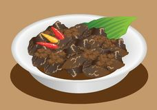 Vektor - Rendang Padang, indonesiska traditionella Stew Beef vektor illustrationer