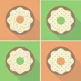Vektor-Retro- gebissener Donut-Illustrations-flacher Design-Satz Stockbild
