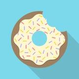 Vektor-Retro- gebissenes Donut-Illustrations-flaches Design Lizenzfreies Stockbild