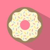 Vektor-Retro- gebissenes Donut-Illustrations-flaches Design Lizenzfreie Stockbilder