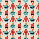 Vektor-Retro- Hippie-Monster-nahtloses Muster Lizenzfreie Stockfotografie