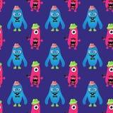 Vektor-Retro- Hippie-Monster-nahtloses Muster Stockbild
