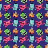 Vektor-Retro- Hippie-Monster-nahtloses Muster Lizenzfreie Stockbilder