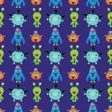 Vektor-Retro- Hippie-Monster-nahtloses Muster Lizenzfreies Stockbild