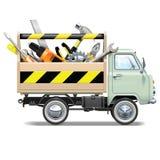 Vektor-Retro- LKW-Werkzeugkastenpackwagen Lizenzfreie Stockfotos