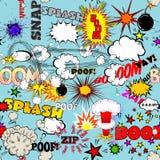 Vektor-Retro- nahtloses Muster mit komischen Sprache-Blasen, Aufklebern, Logos und Comic-Buch-Wörtern Lizenzfreies Stockfoto