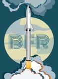 Vektor-Retrostilillustration Rocket-Raumschiffes startende Vektorkarikaturraumschiff lokalisierter und Vollmond für Netz, Postkar stock abbildung