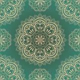 Vektor rich, sömlös bakgrund med symmetriska mandalas Royaltyfria Bilder