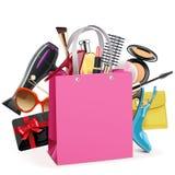 Vektor-rosa Einkaufstasche lizenzfreie abbildung
