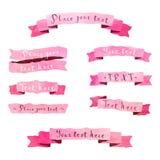 Vektor-Rosabänder der Aquarellweinlese Hand gezeichnete eingestellt Stockfoto
