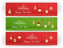 Vektor, rote und grüne frohe Weihnachten und guten Rutsch ins Neue Jahr und Ikone lizenzfreie abbildung