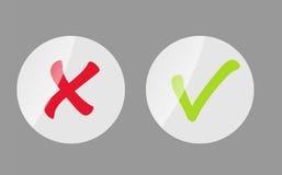 Vektor-rote und grüne Kontrolle Mark Icons Stockbilder