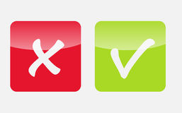 Vektor-rote und grüne Kontrolle Mark Icons Lizenzfreie Stockfotos