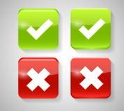 Vektor-rote und grüne Kontrolle Mark Icons Lizenzfreies Stockfoto