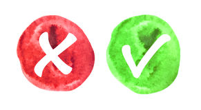 Vektor-rote und grüne Wasserzeichen-Kontrolle Mark Icons Stockbild