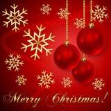 Vektor-rote Weihnachtsbälle mit Schneeflocken lizenzfreie abbildung