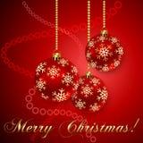 Vektor-rote Weihnachtsbälle mit Schneeflocken vektor abbildung