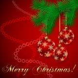 Vektor-rote Weihnachtsfeiertags-Gruß-Karte lizenzfreie abbildung