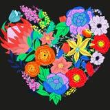 Vektor-rustikales Blumen-Herz Stockfotos