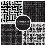 Vektor sömlösa BW Maze Pattern Collection Arkivfoto