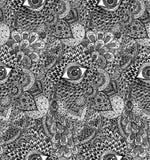 Vektor sömlösa Handdrawn Mandala Background fotografering för bildbyråer