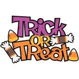 Vektor-Süßes sonst gibt's Saures Süßigkeits-Halloween-Phrasen-Illustration stockfotos