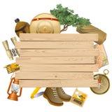 Vektor Safari Concept med den gula plankan stock illustrationer