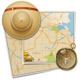 Vektor Safari Map med hatten royaltyfri illustrationer
