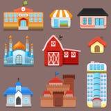 Vektor-Sammlung Großstadt-und Stadtgebäude Lizenzfreies Stockfoto