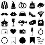 Vektor-Sammlung Hochzeits-Ikonen und Schattenbilder Lizenzfreie Stockbilder