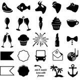 Vektor-Sammlung Hochzeits-und Partei-themenorientierte Ikonen Stockbild