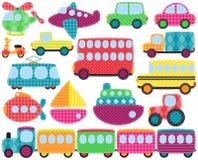 Vektor-Sammlung nette Patchwork-Art-Transport-Bilder Lizenzfreie Stockfotografie