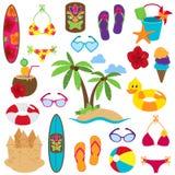 Vektor-Sammlung Strand und tropische themenorientierte Bilder Lizenzfreie Stockfotografie