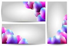 Vektor-Sammlung von drei Ostern-Karten mit Purpl Lizenzfreies Stockfoto
