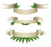 Vektor-Sammlung Weihnachtsbänder mit Nadeln Lizenzfreie Stockfotos