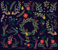 Vektor-Sammlung Weinlese-Art-des Hand gezeichneten Weihnachtsfeiertags mit Blumen Stockfotos